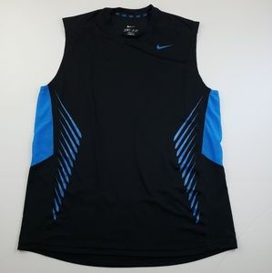 Nike Mens blue and black sleeveless tank top large